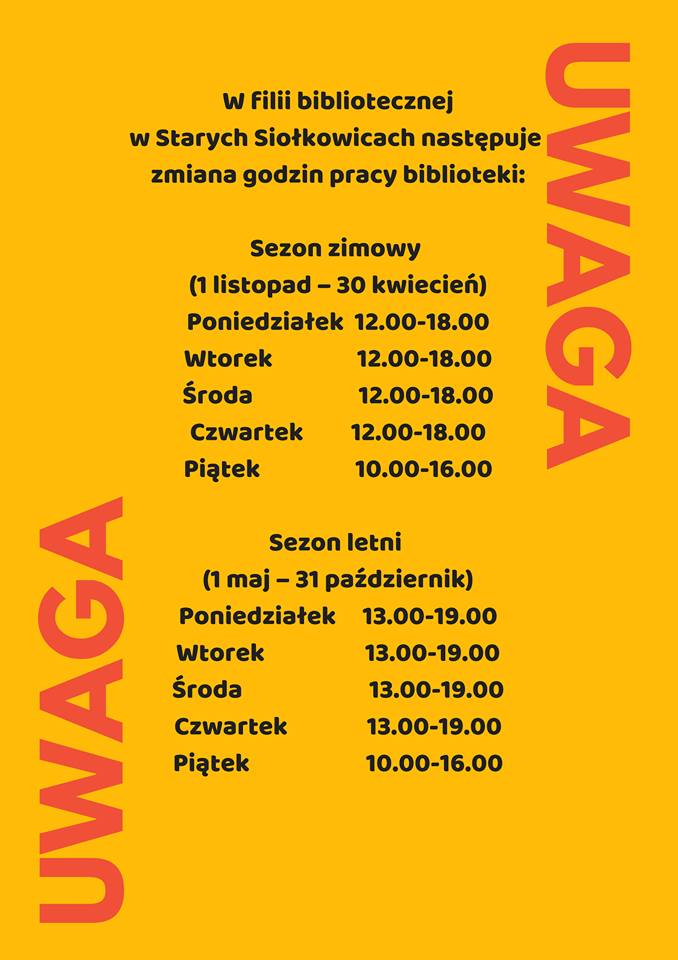 Zmiana godzin pracy biblioteki w Starych Siołkowicach