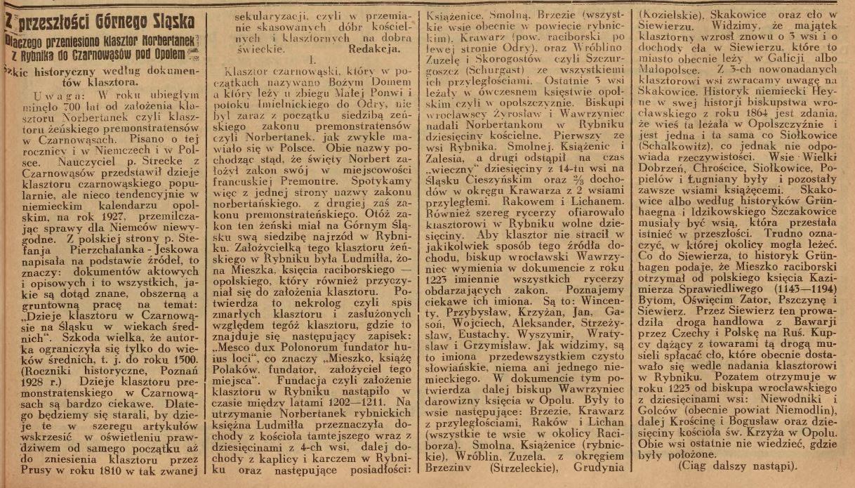 1929 r - 700 lecie klasztoru klasztoru w Czarnowąsach