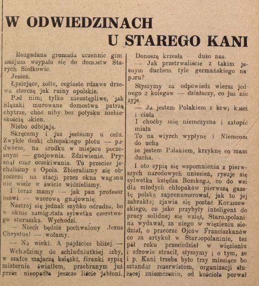 1947 r. - fragment artykułu w Nowinach Codziennych - W odwiedzinach u starego Kani