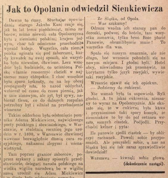Kania u Sienkiewicza - fragment artykułu w Nowinach Codziennych z 1947 r.