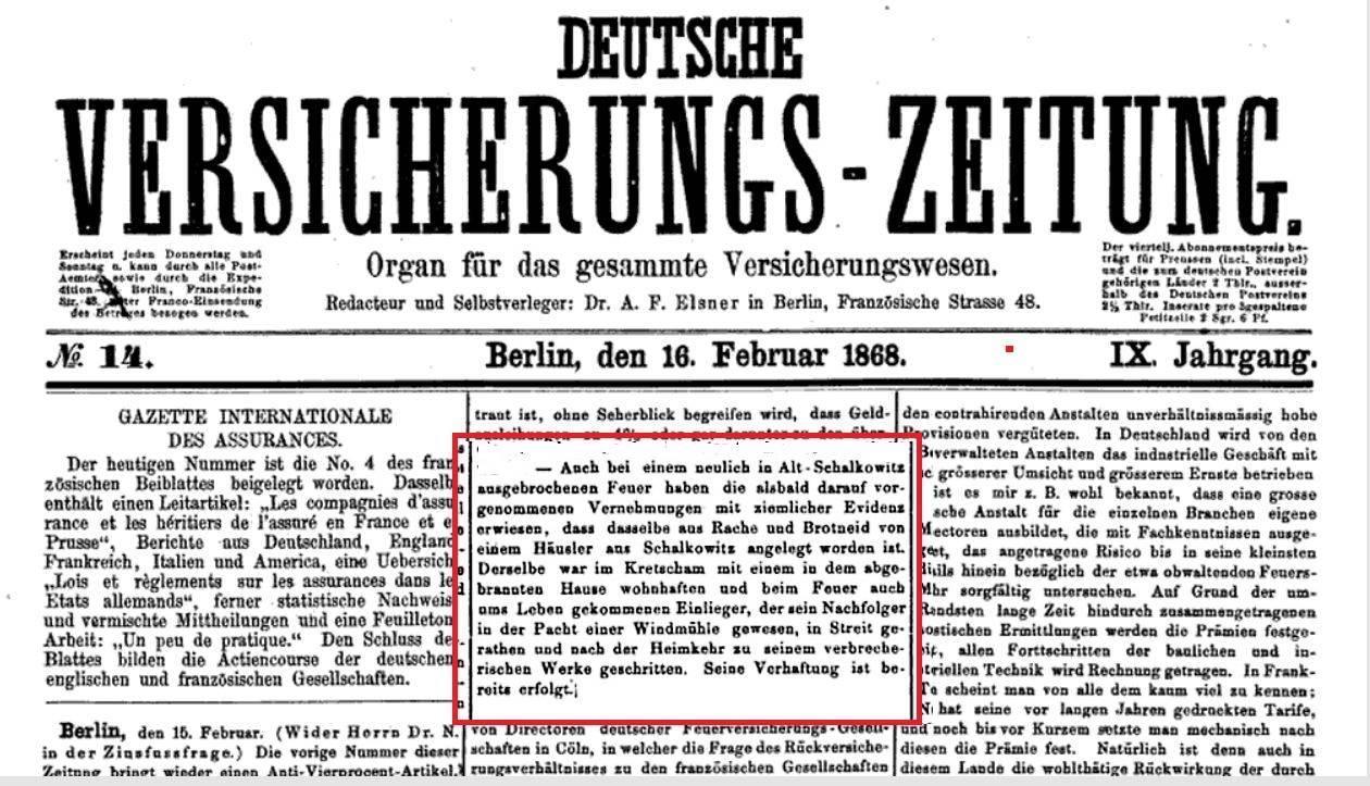 Deutsche Versicherungs Zeitung, 16. 02. 1868 r