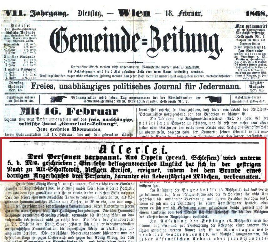 Gemeinde Zeitung, 18. 02. 1868 r.