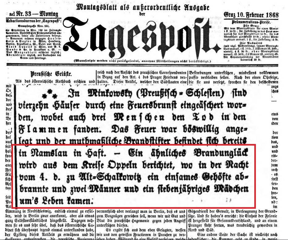 Tagespost, 10. 02. 1868 r.