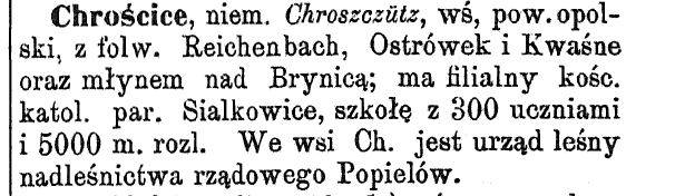 Chrościce 1880 r. - Słownik geograficzny...