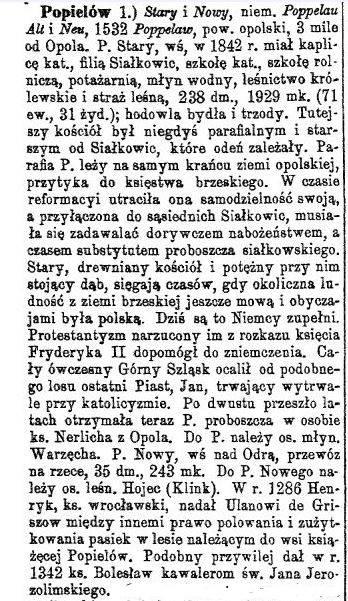 Popielów 1889 r. - Słownik geograficzny...