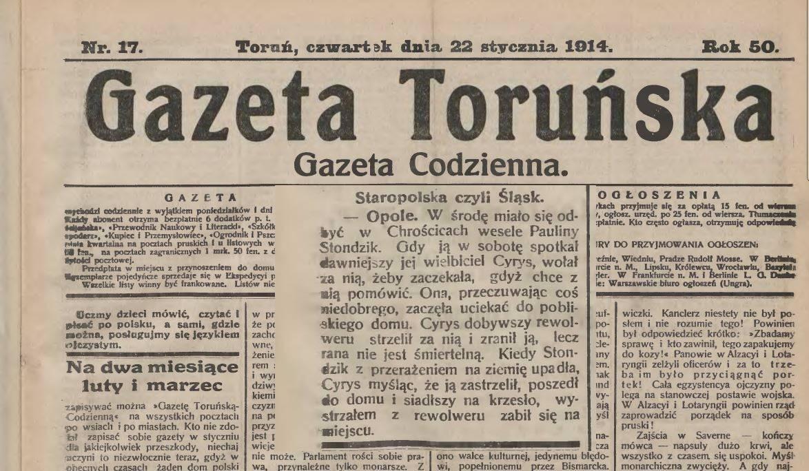 Gazeta Toruńska 22-01-1914 r.
