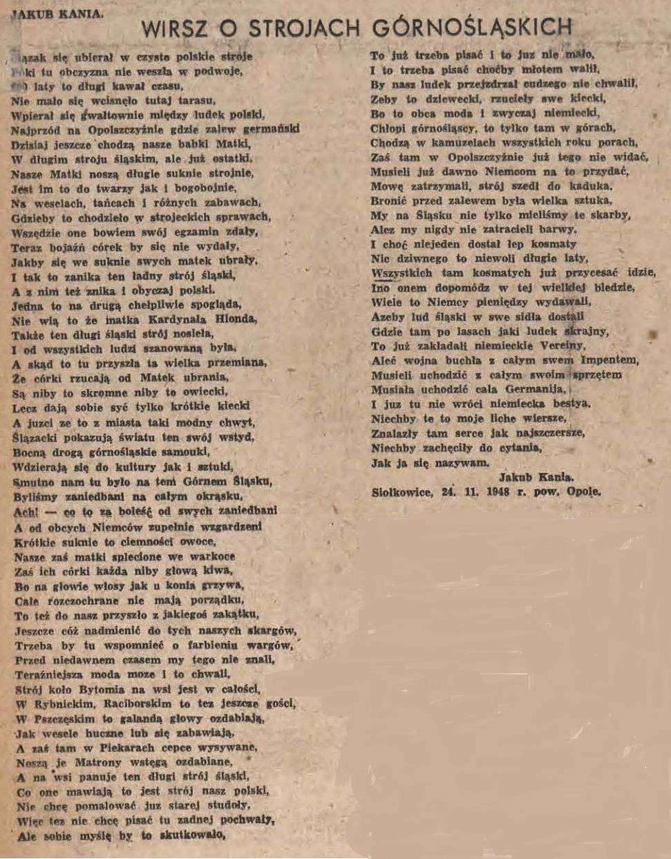 Wiersze Jakuba Kani Wiersz O Strojach Górnośląskich 1948