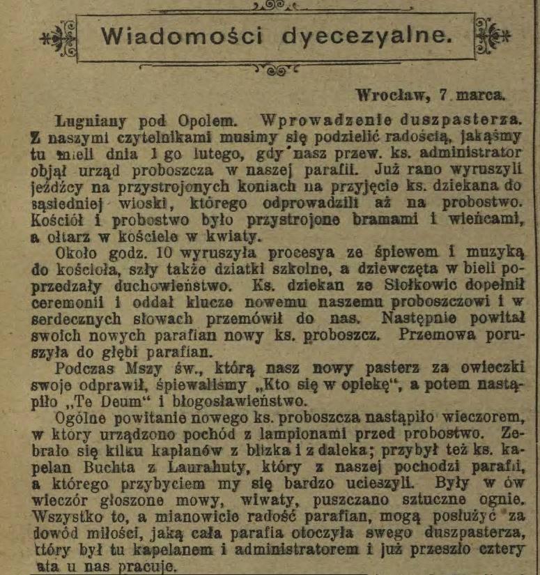 Posłaniec Niedzielny 1905 r. - Ługniany