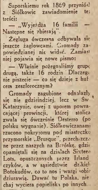 """Fragment artykułu """"Kraj wzbogacony polskim trudem. 75-lecie osad polskich w Brazylii."""""""