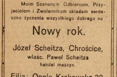 """Życzenia noworoczne - """"NOWINY"""" 1919 r."""