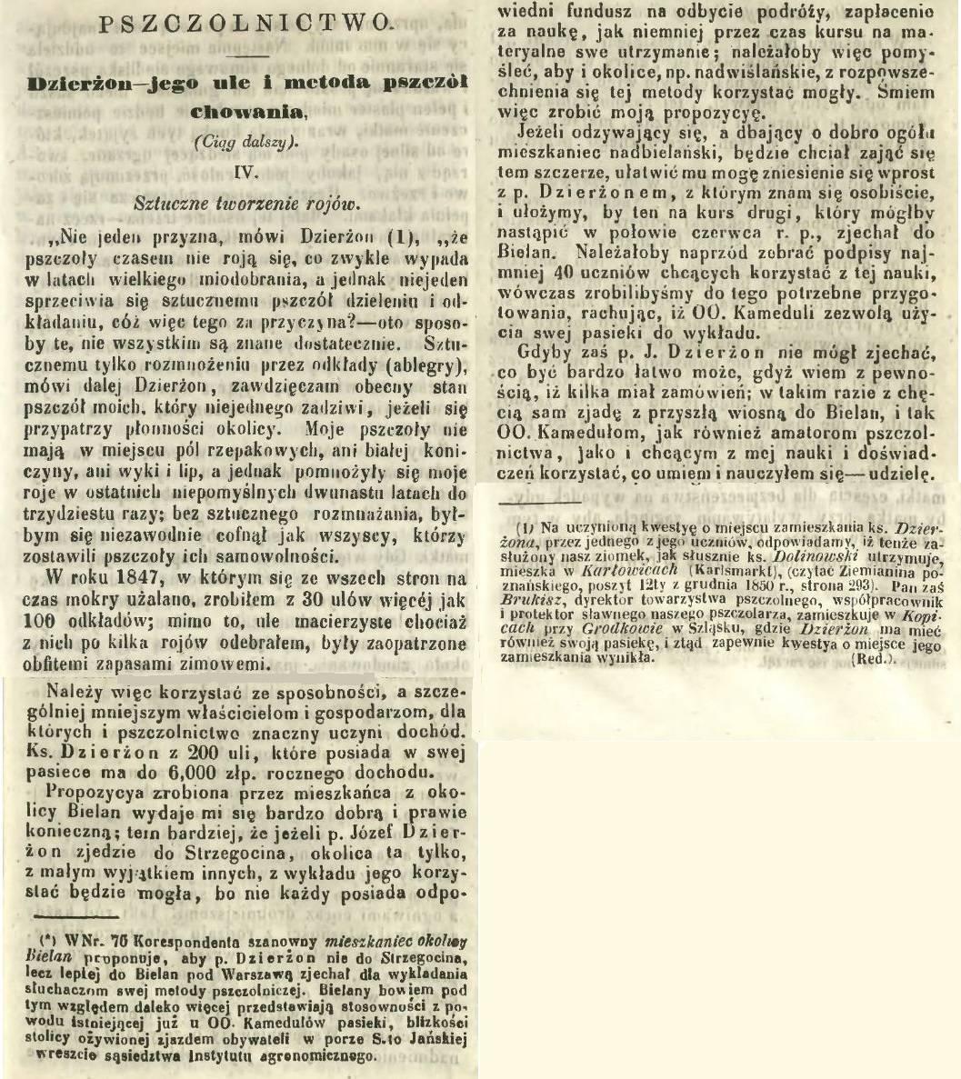 Frag. art. z Gazety Rolniczej i Przemysłowej, Warszawa 1847r